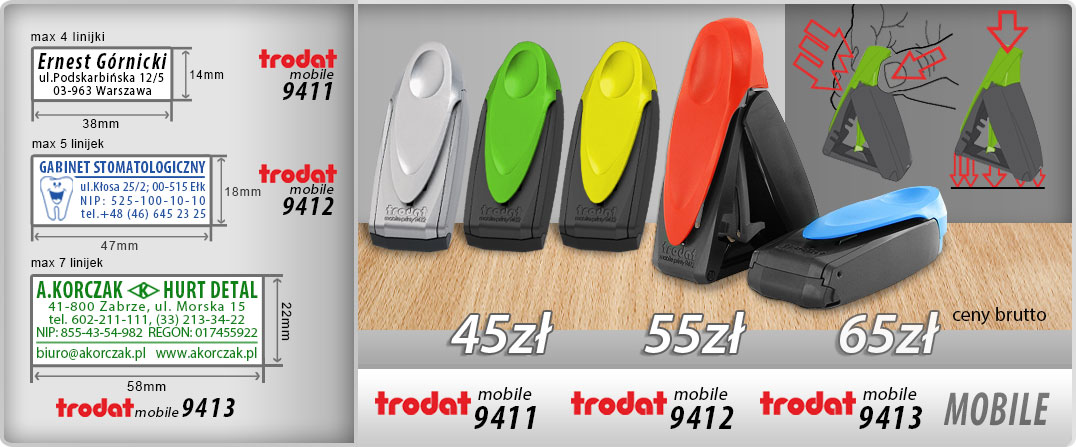 PIECZĄTKI KIESZONKOWE Trodat Mobile Printy: 4911 - 45zł, 9412 - 55zł, 9413 - 65zł