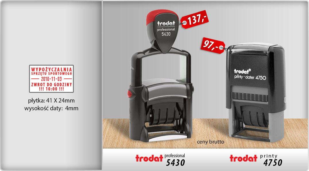 Datownik szkieletowy Trodat Professional 5430 i plastikowy Printy 4750