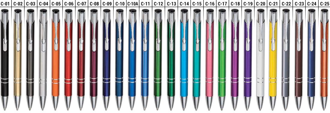 Wzornik koloru długopisów reklamowych Cosmo